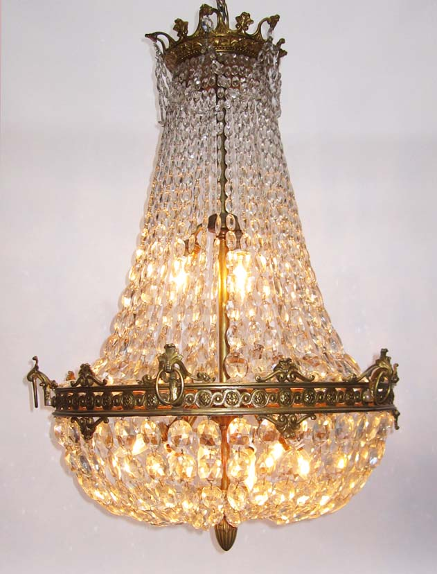 A Fine French 19th 20th Century Empire Style Gilt Bronze And Diamond Cut Crystal Basket Nine Light Chandelier With Fl Trim Acanthus Hooks