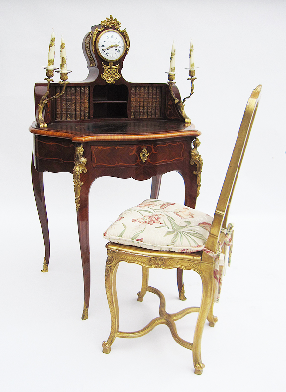 a very fine french 19th century louis xv style tulipwood and mahogany marquetry gilt bronze. Black Bedroom Furniture Sets. Home Design Ideas