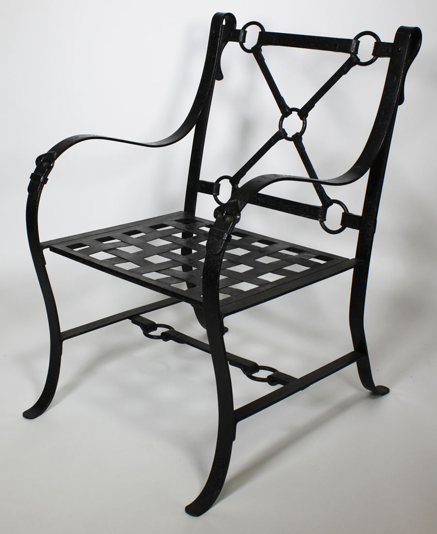 A Rare Pair Of French Mid Century Designer Ebonized Wrought Iron And Metal Painted Armchairs With Forged Decorative Castings Representing Leather Straps