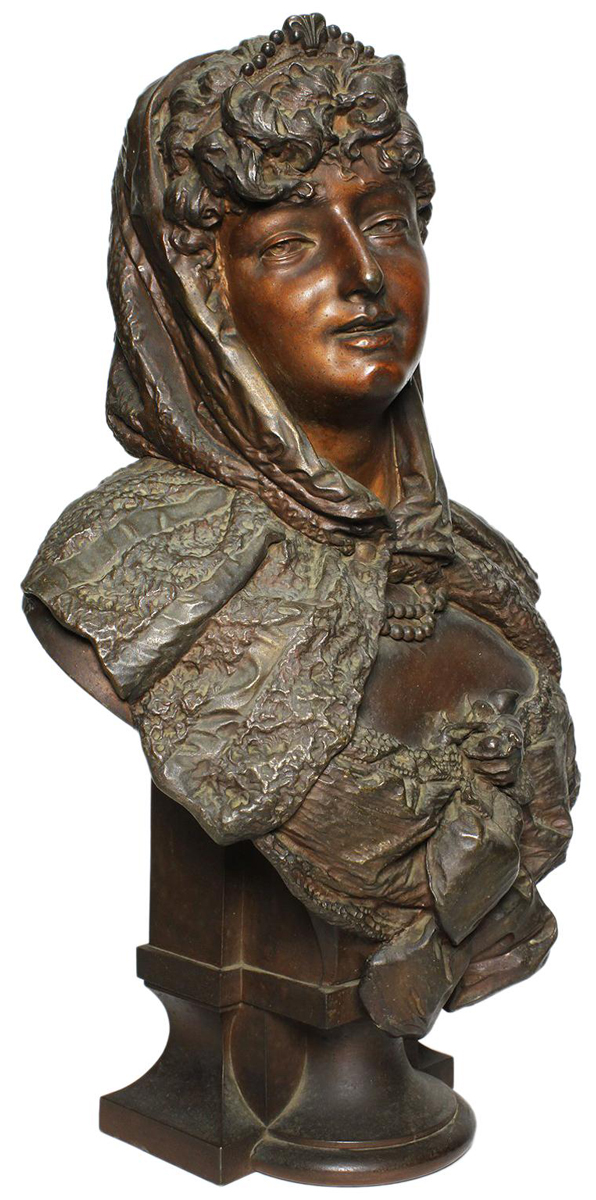 a fine french 19th century patinated spelter bust figure of a young wearing a head scarf the. Black Bedroom Furniture Sets. Home Design Ideas