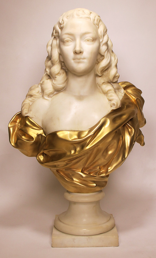 A truly breathtaking antique French hand carved stone bust