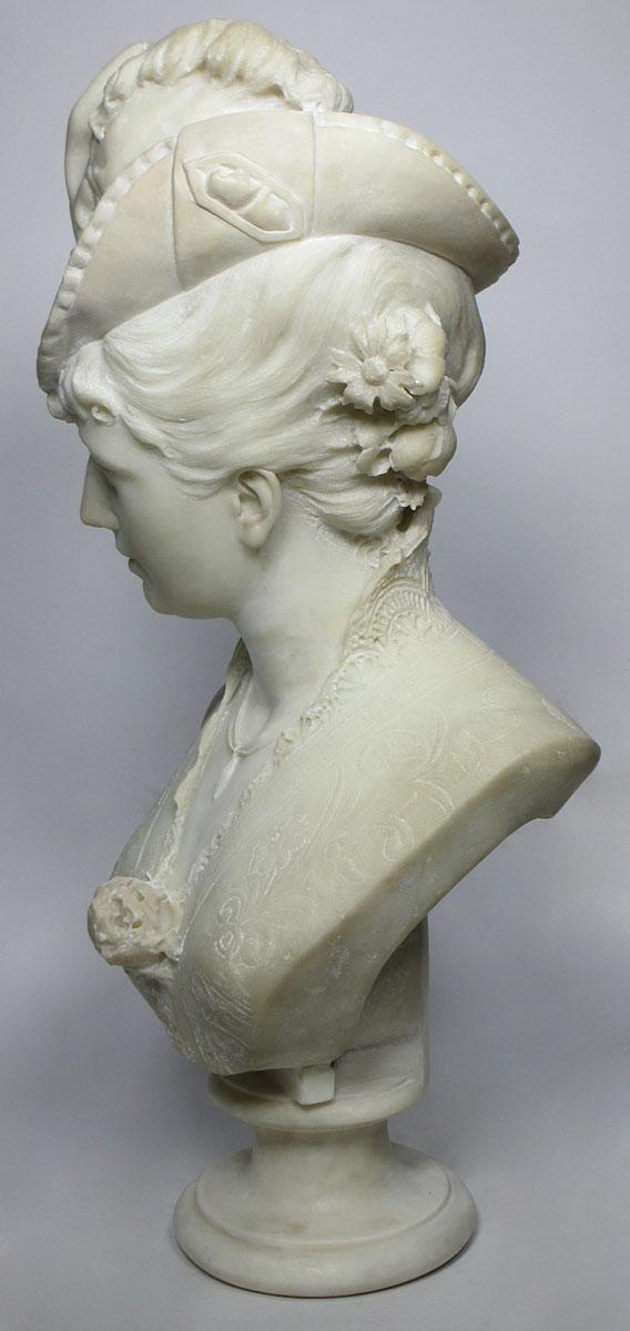 A Life-Size Carved Italian 20th Century Carrara Marble