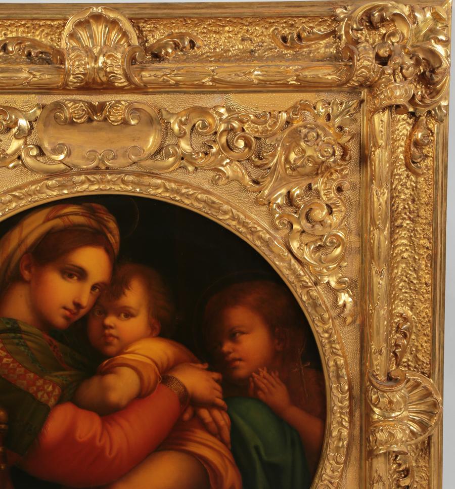 A Fine Italian 19th Century Oil Painting On Canvas Quot La Madonna Della Seggiola Quot After Raphael